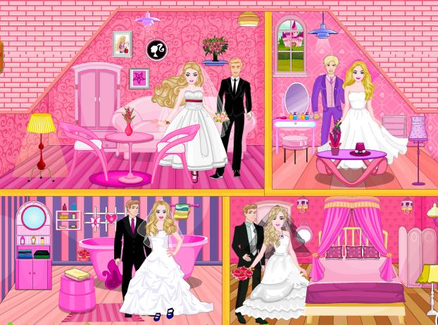 Play Barbie wedding doll house Game