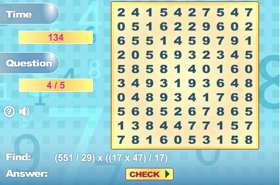 Play Math Search Game