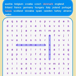 Play Euro 2021 Countries Word Search Game